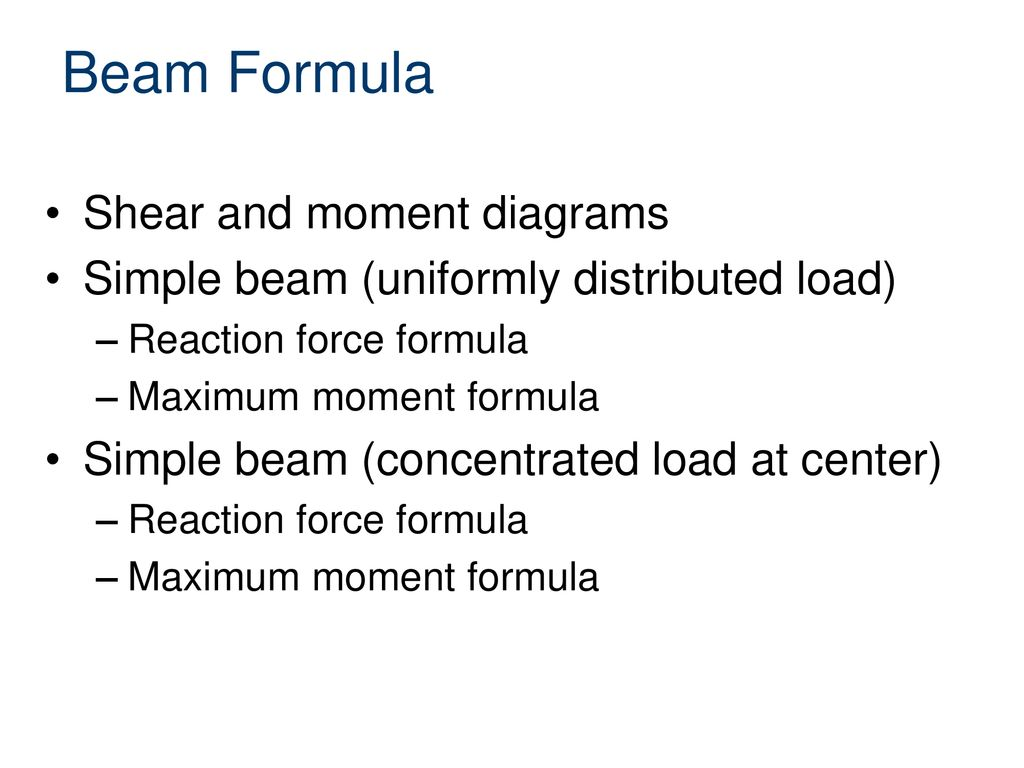 Beam Formulas Civil Engineering And Architecture Ppt Download Shear Moment Diagram For Beams 2 Formula Diagrams
