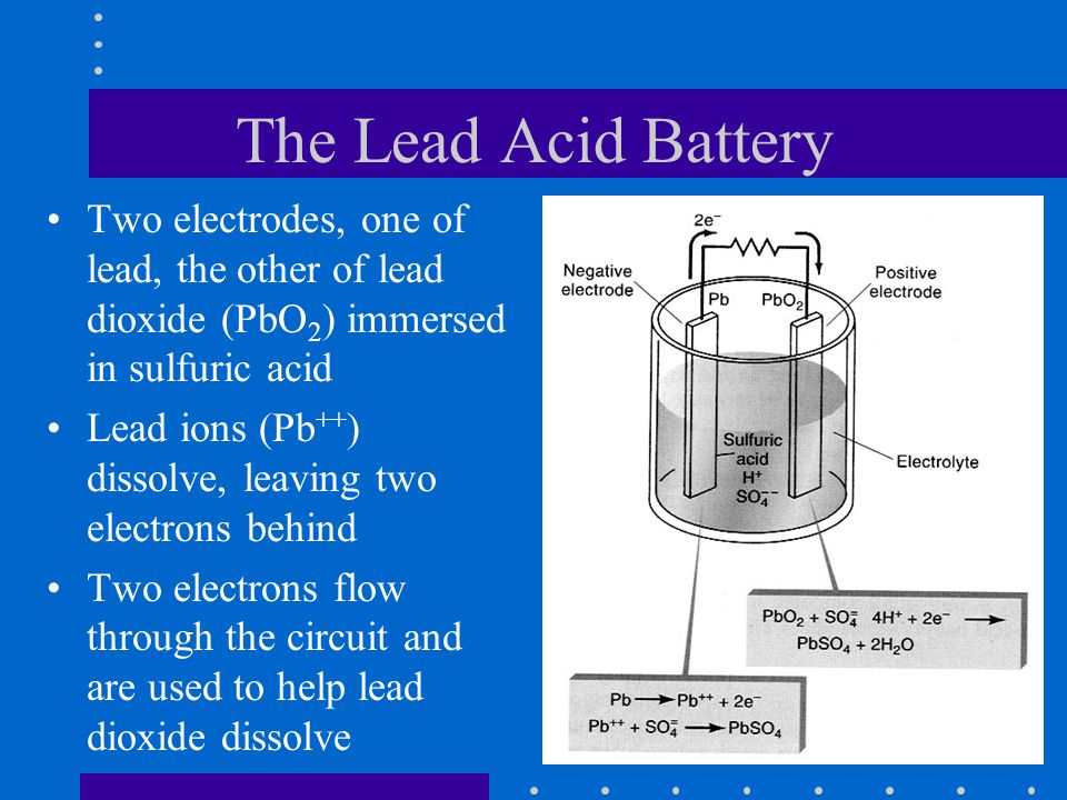 The Lead Acid Battery Two electrodes, one of lead, the other of lead dioxide (PbO2) immersed in sulfuric acid.