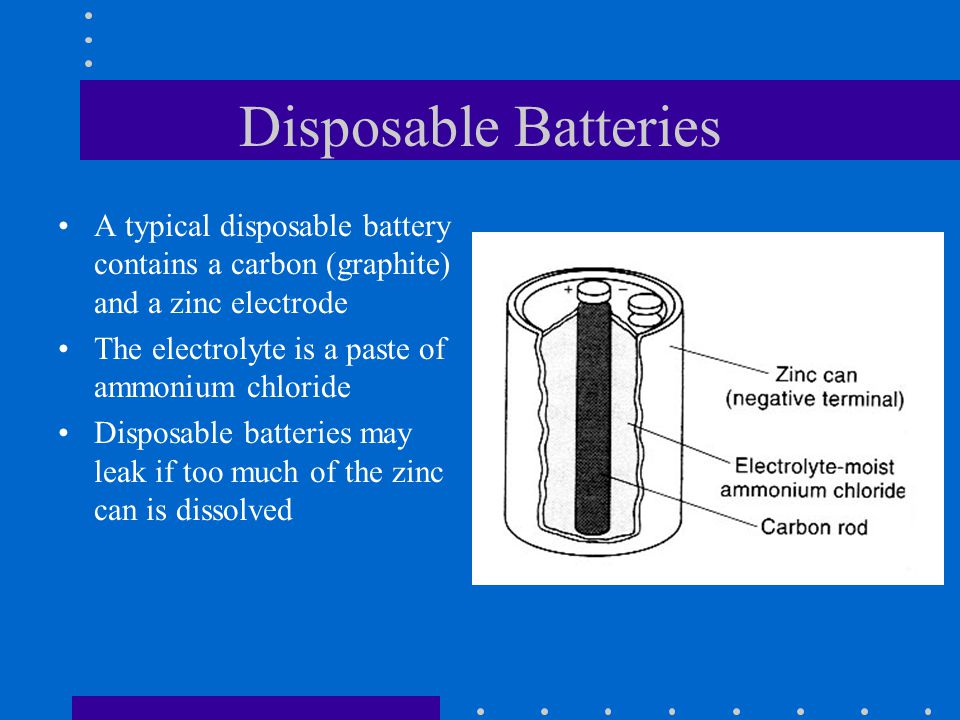 Disposable Batteries A typical disposable battery contains a carbon (graphite) and a zinc electrode.