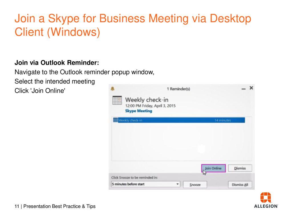 Skype for Business Webinar Meeting - ppt download