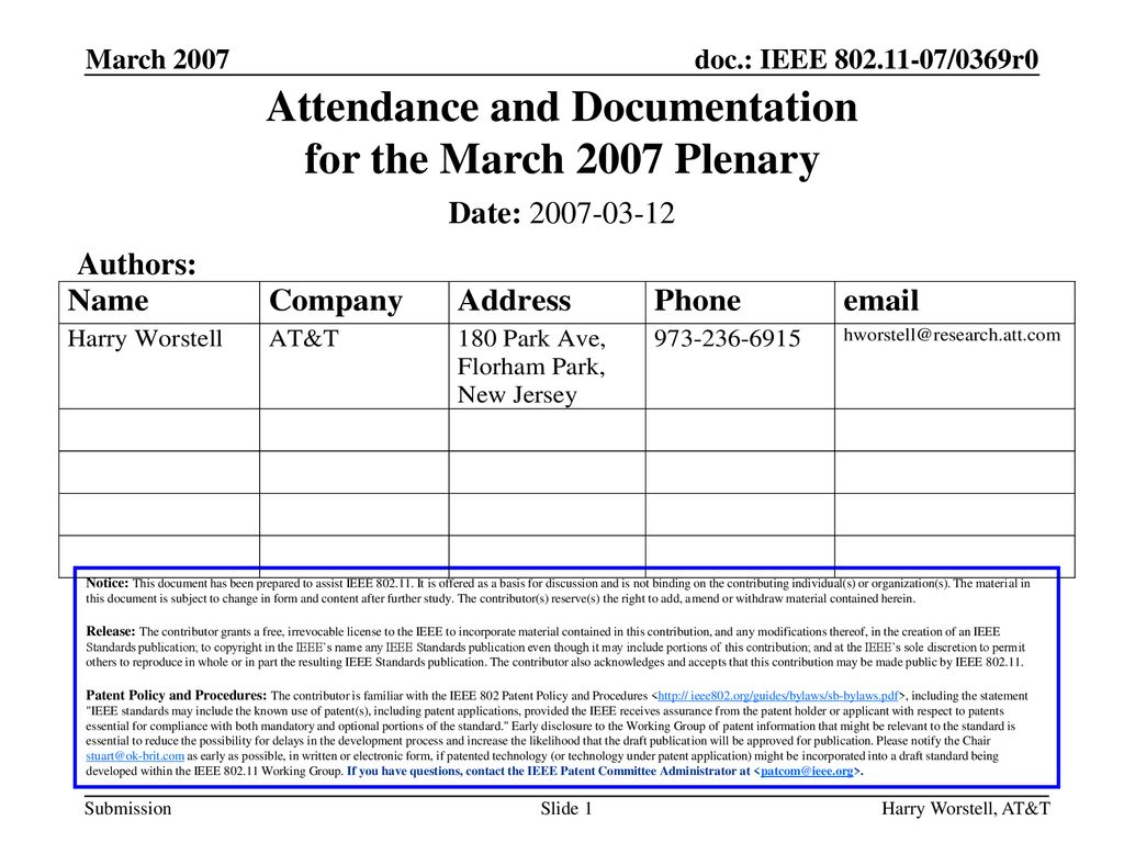 Attendance and Documentation for the March 2007 Plenary