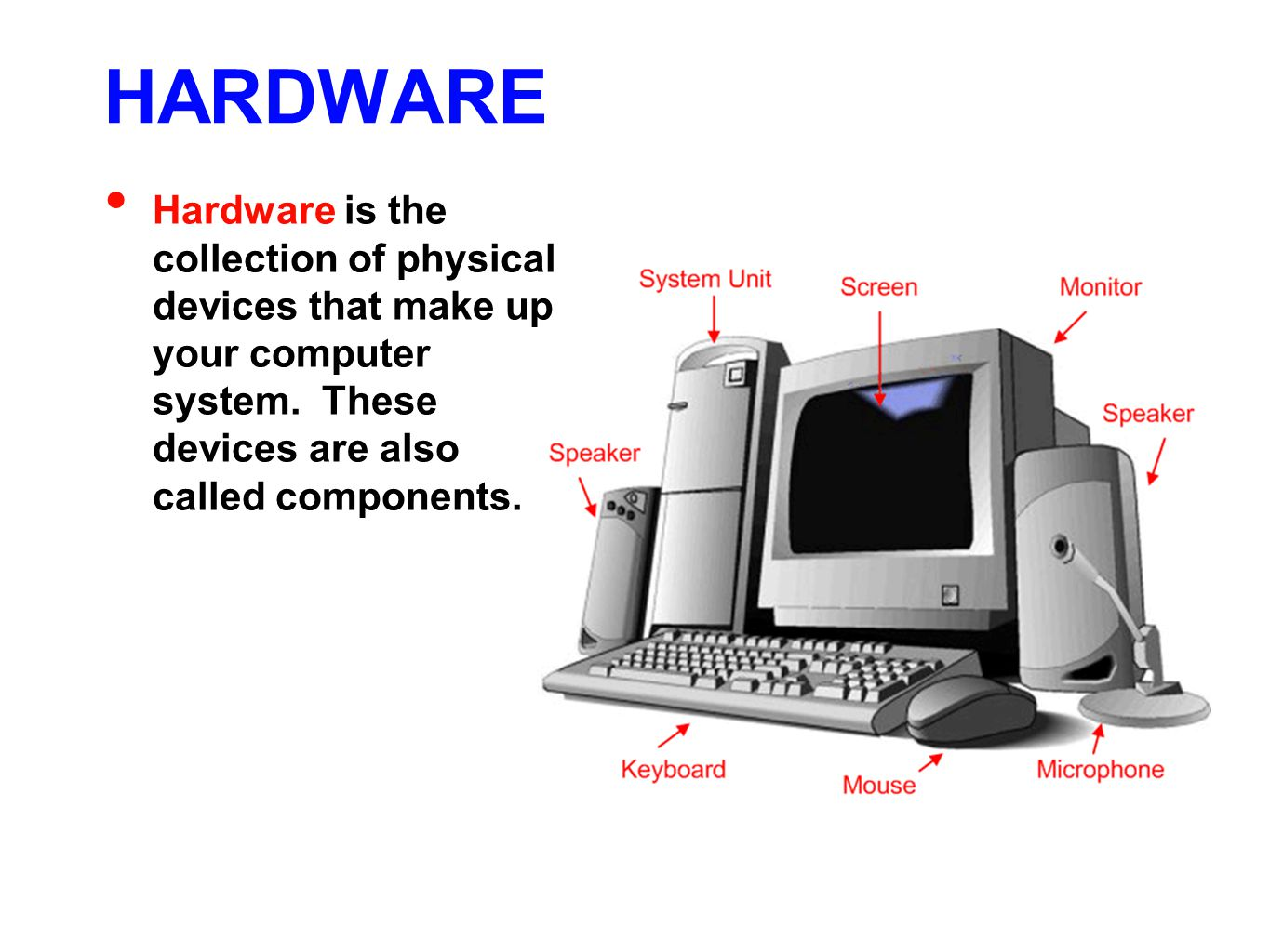HARDWARE Hardware is the collection of physical devices that make up your computer system.