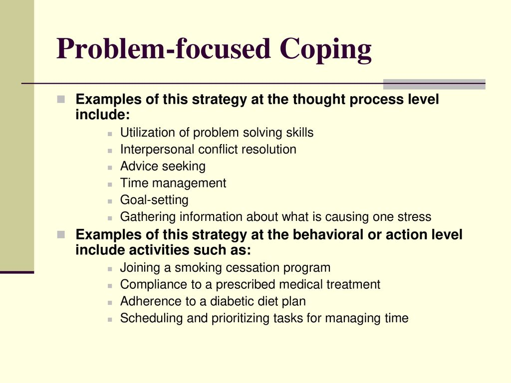 problem focused coping examples