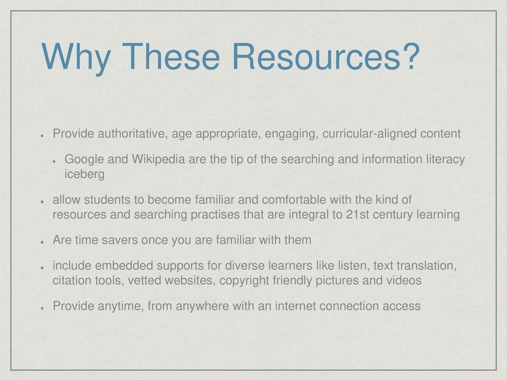 Authoritative, curricular Aligned Resources for Grade 4-6 Students