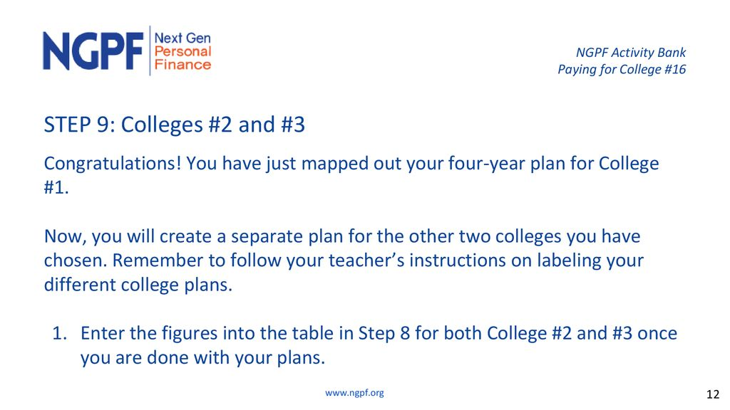 4 Year Plan For College Interactive College Planning Calculator Ppt Download