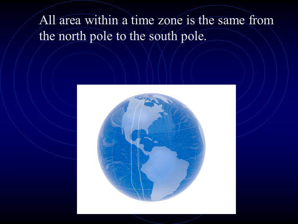 All area within a time zone is the same from the north pole to the south pole.