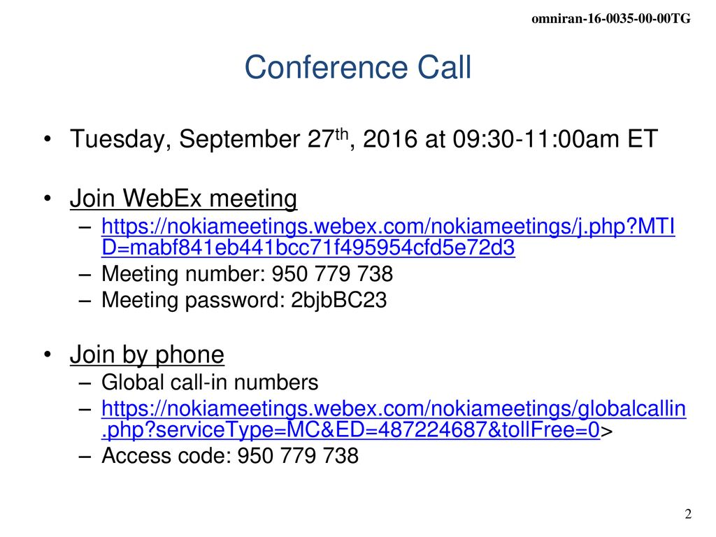 IEEE OmniRAN TG September 27th, 2016 Conference Call - ppt