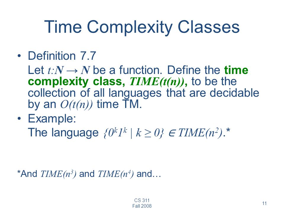 Time Complexity Classes