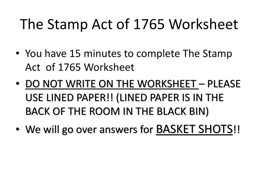 The Stamp Act Of 1765 Worksheet