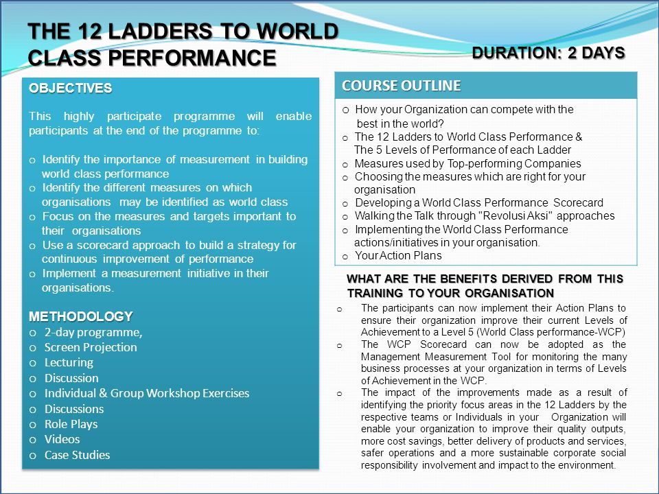 THE 12 LADDERS TO WORLD CLASS PERFORMANCE