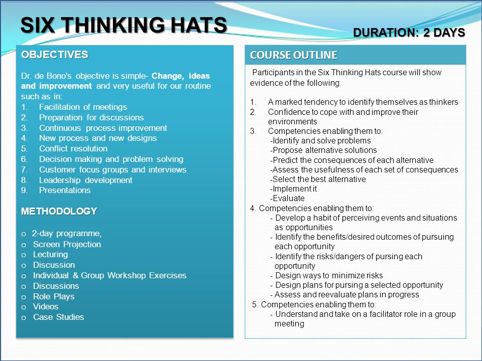SIX THINKING HATS COURSE OUTLINE DURATION: 2 DAYS OBJECTIVES