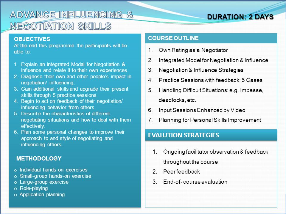 ADVANCE INFLUENCING & NEGOTIATION SKILLS DURATION: 2 DAYS