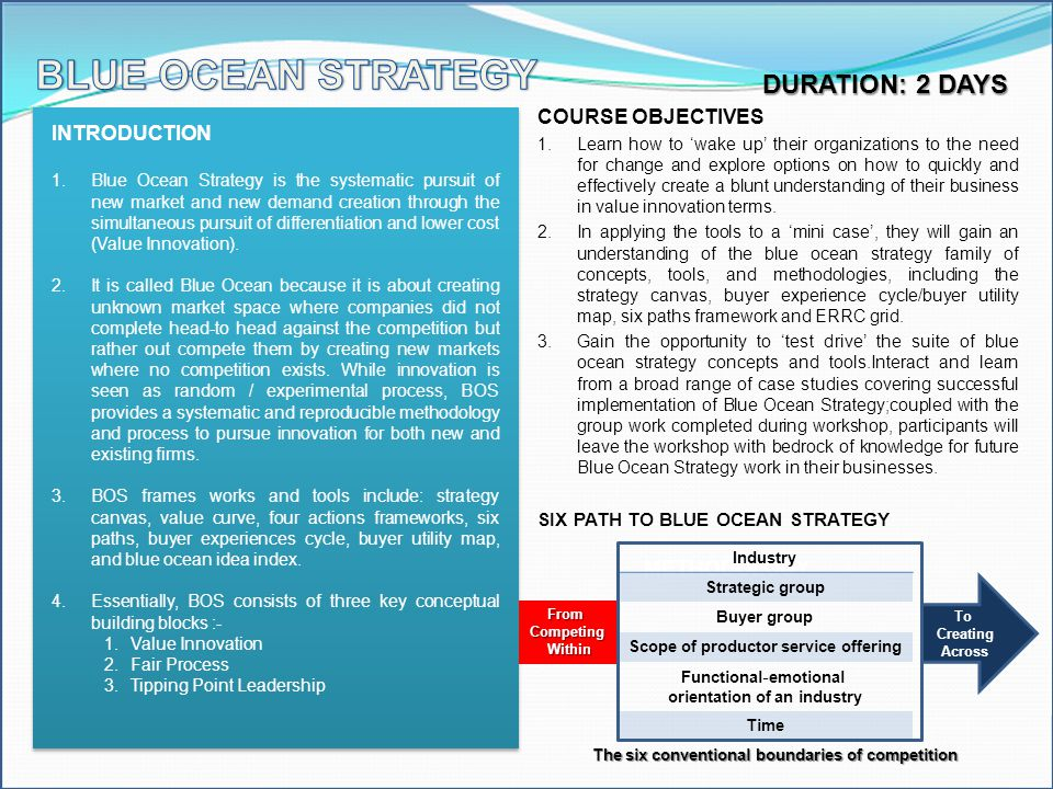 BLUE OCEAN STRATEGY DURATION: 2 DAYS COURSE OBJECTIVES INTRODUCTION