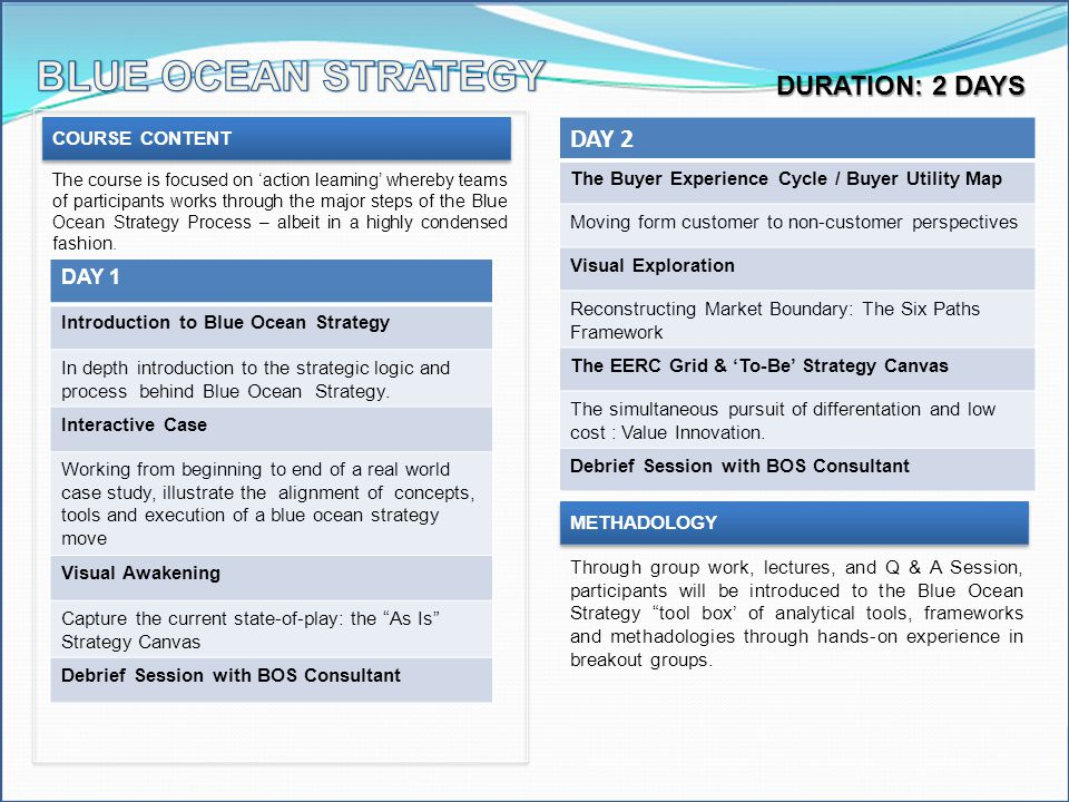 BLUE OCEAN STRATEGY DAY 2 DURATION: 2 DAYS DAY 1