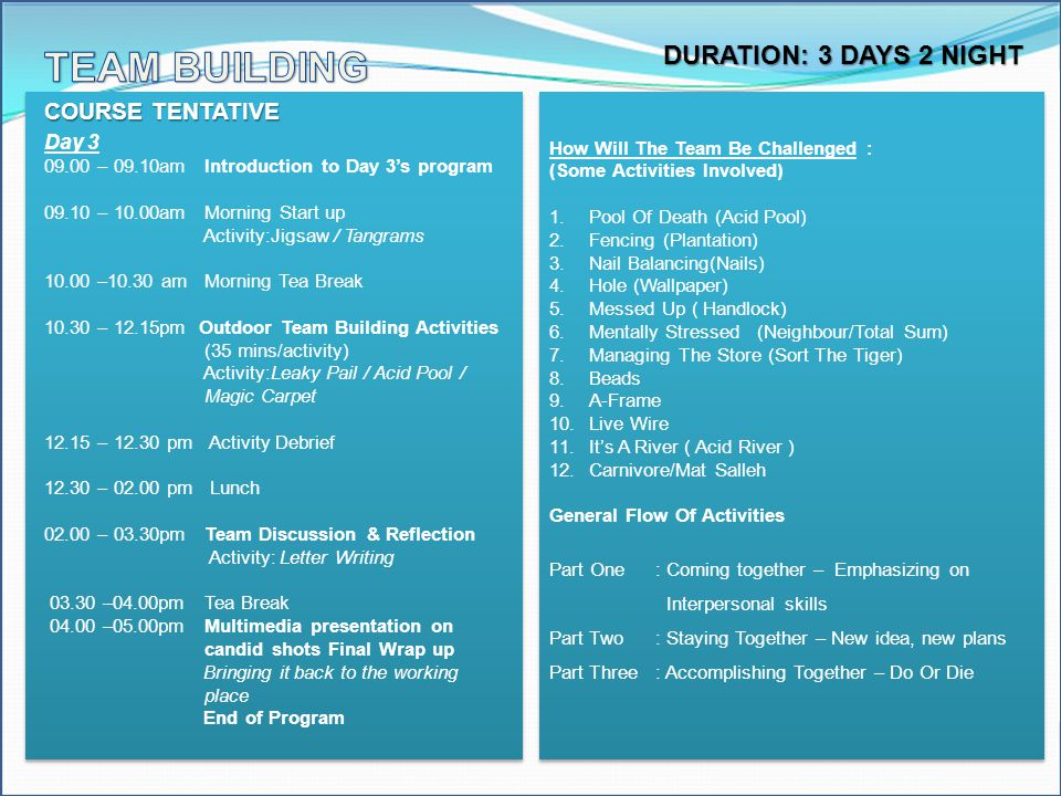 TEAM BUILDING DURATION: 3 DAYS 2 NIGHT COURSE TENTATIVE Day 3
