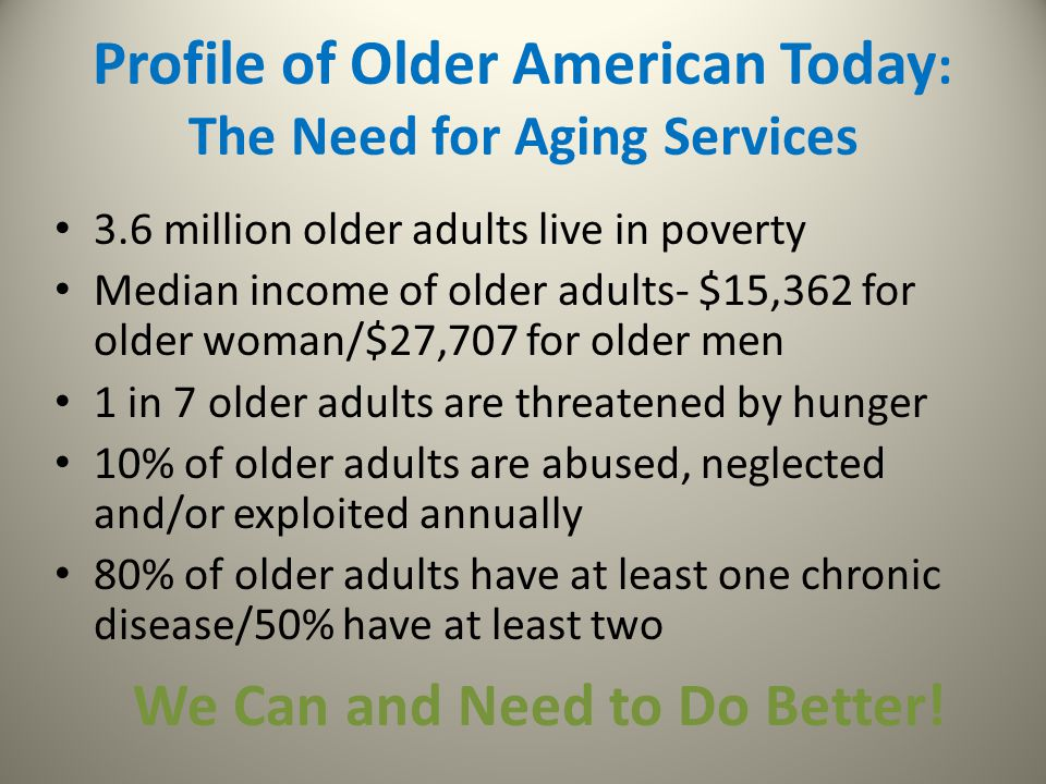 Profile of Older American Today: The Need for Aging Services