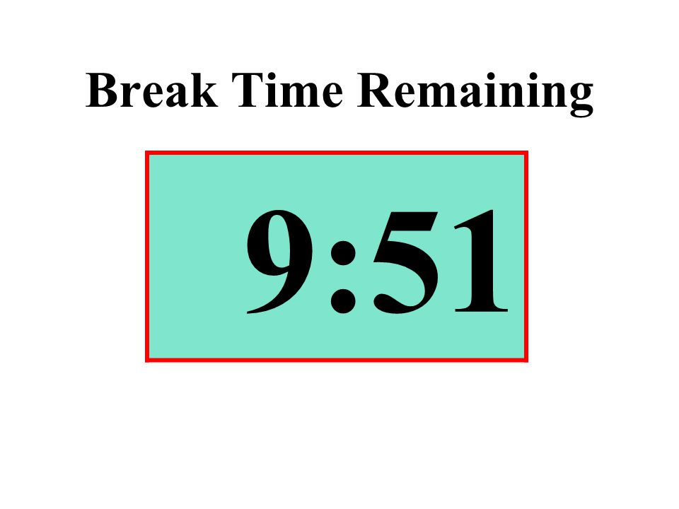 Break Time Remaining 9:51