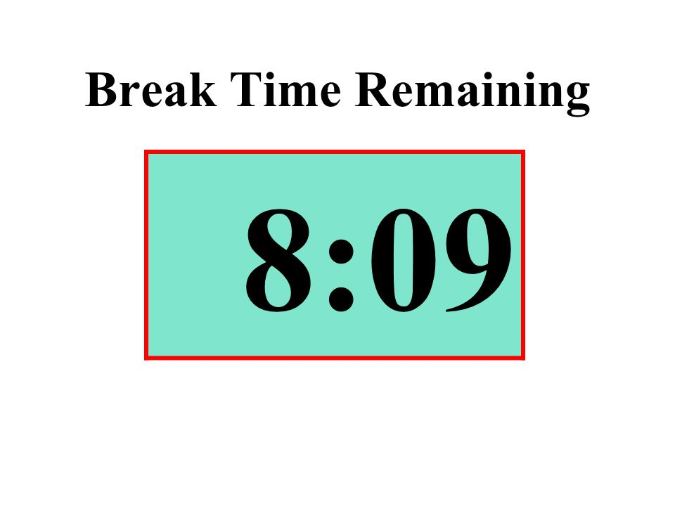 Break Time Remaining 8:09