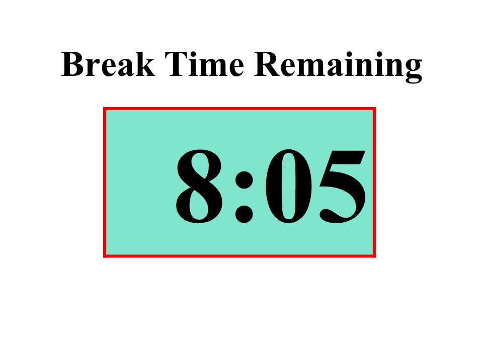 Break Time Remaining 8:05