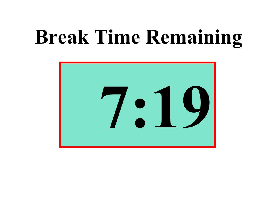 Break Time Remaining 7:19