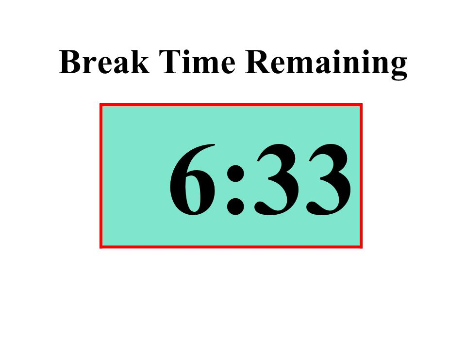 Break Time Remaining 6:33