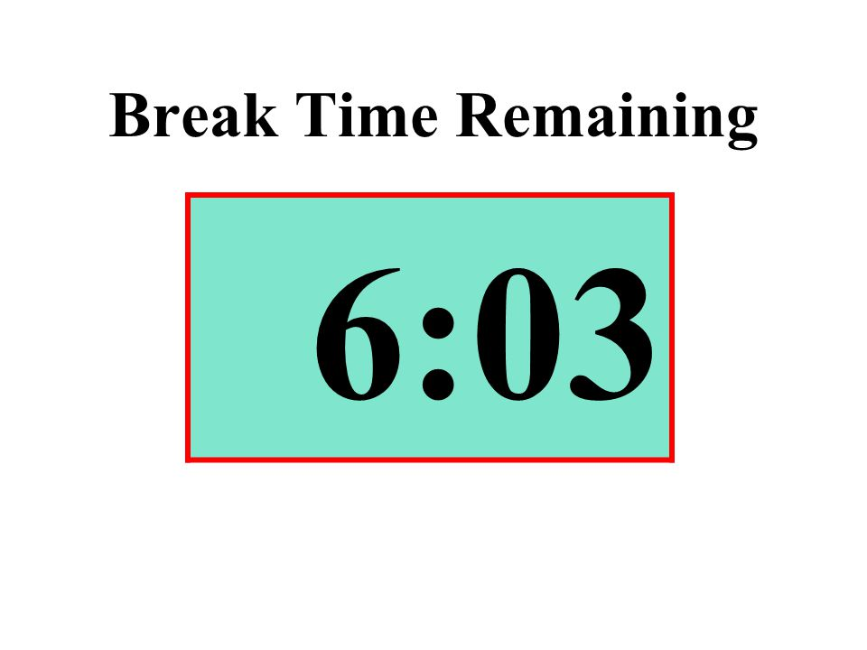 Break Time Remaining 6:03