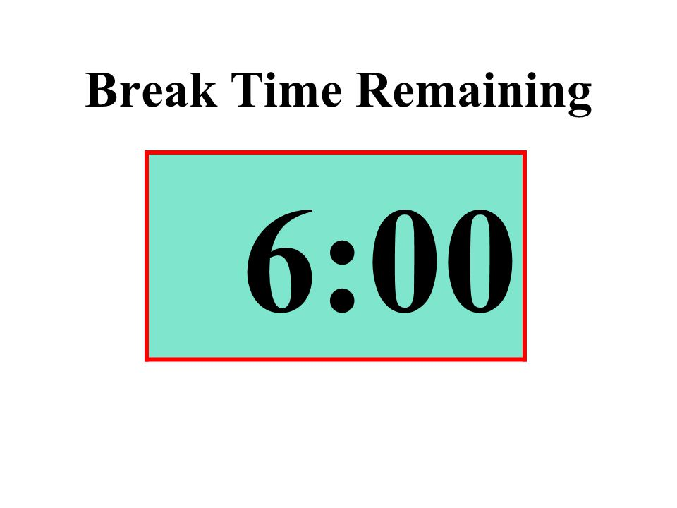Break Time Remaining 6:00