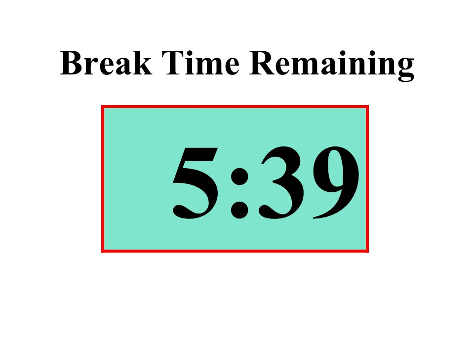 Break Time Remaining 5:39