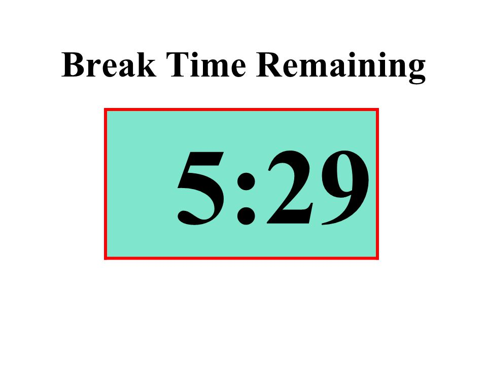 Break Time Remaining 5:29