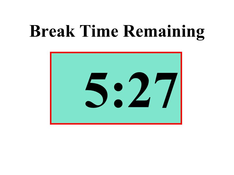 Break Time Remaining 5:27