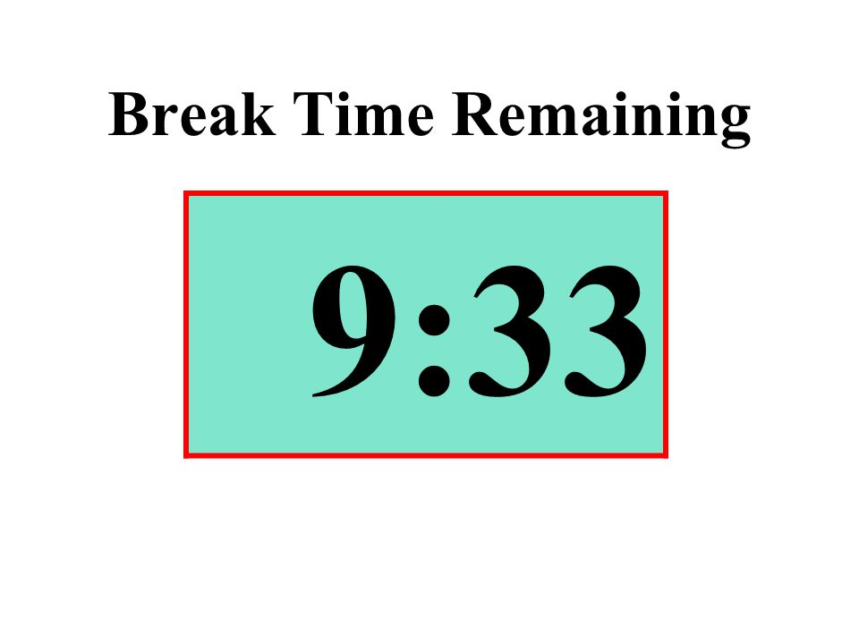 Break Time Remaining 9:33