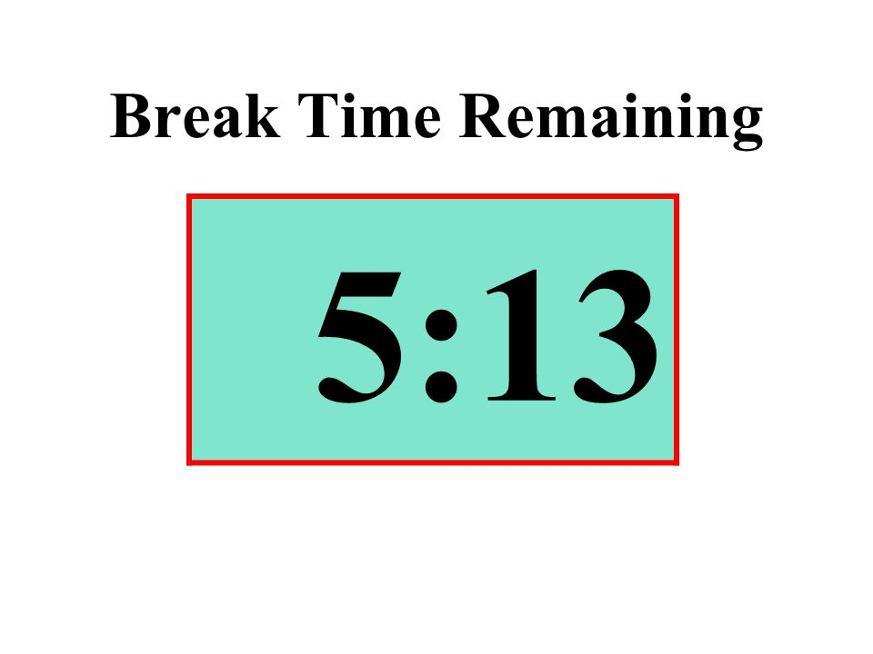 Break Time Remaining 5:13