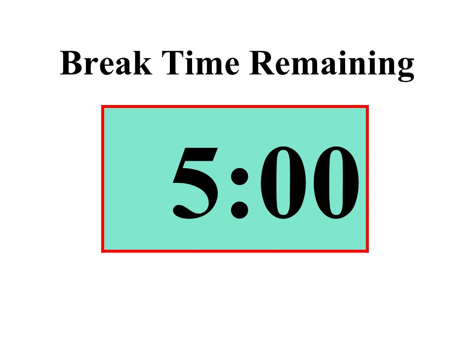 Break Time Remaining 5:00