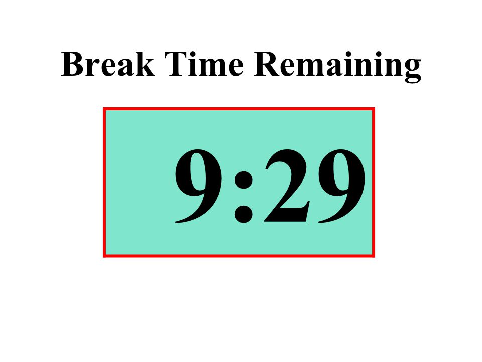 Break Time Remaining 9:29
