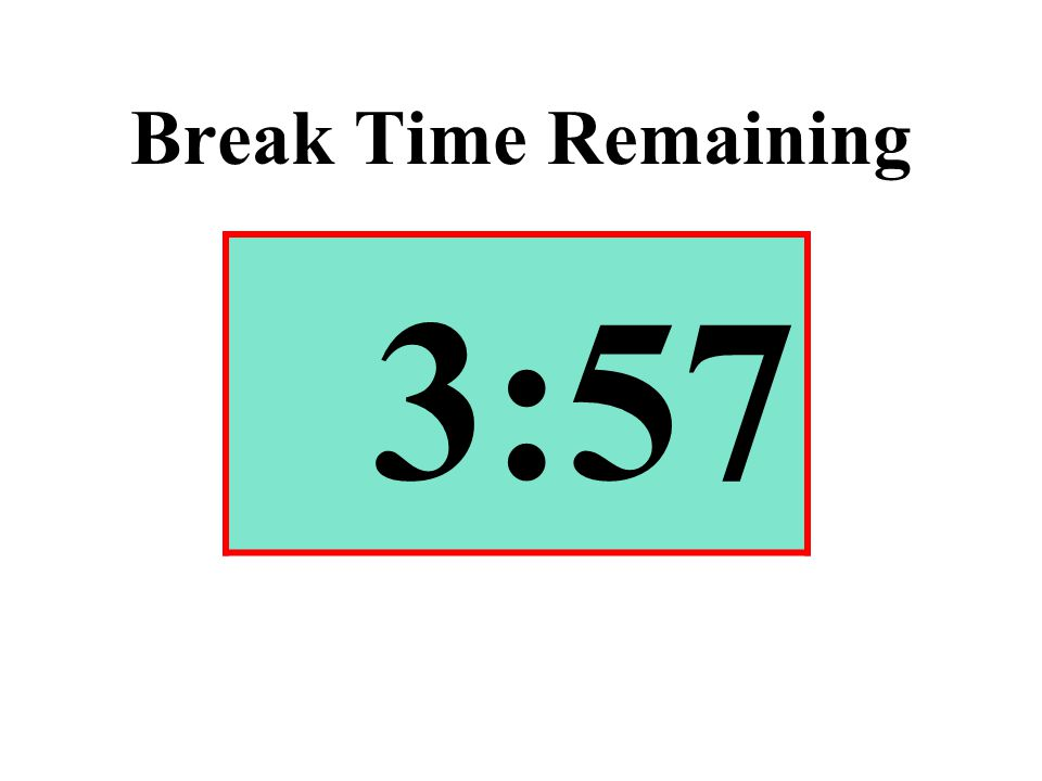 Break Time Remaining 3:57
