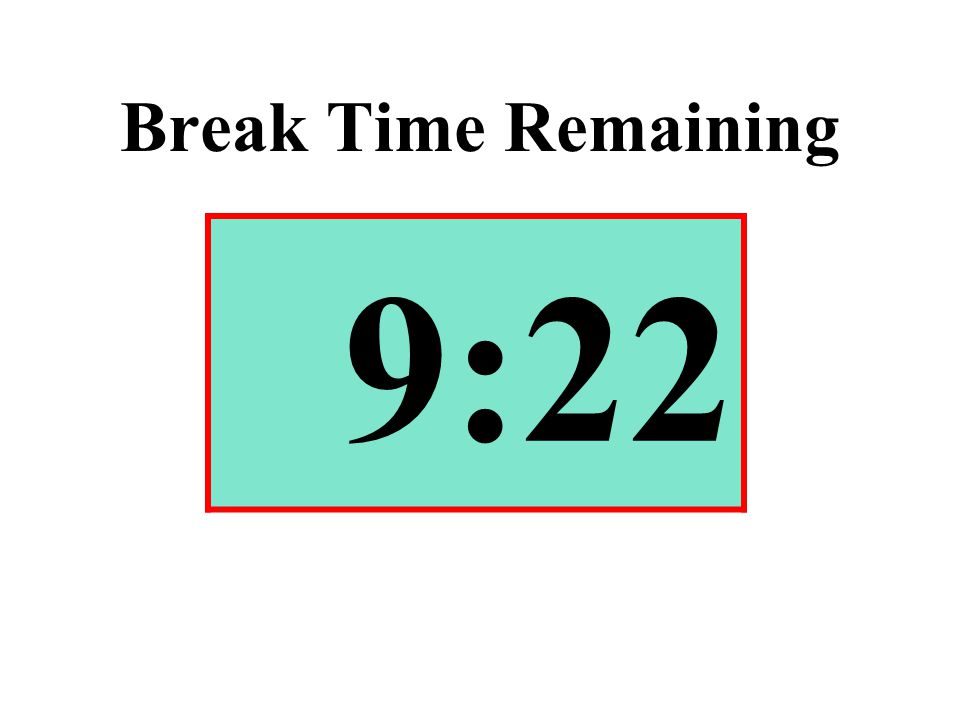Break Time Remaining 9:22