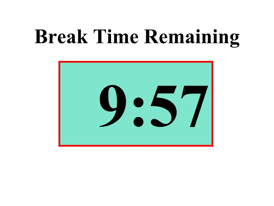 Break Time Remaining 9:57