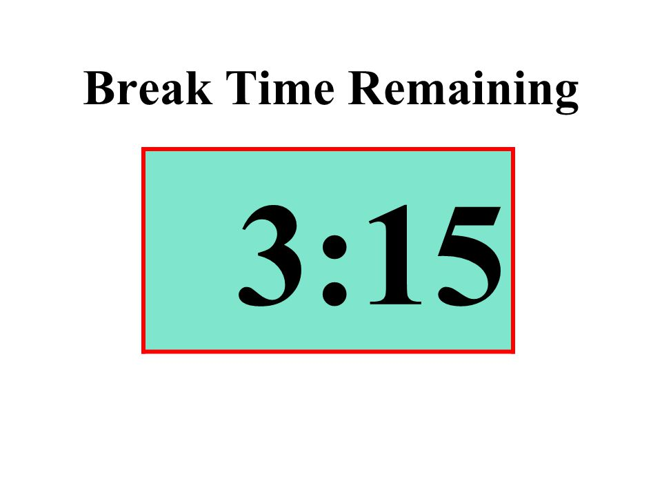Break Time Remaining 3:15