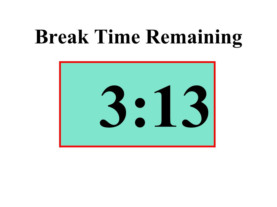 Break Time Remaining 3:13