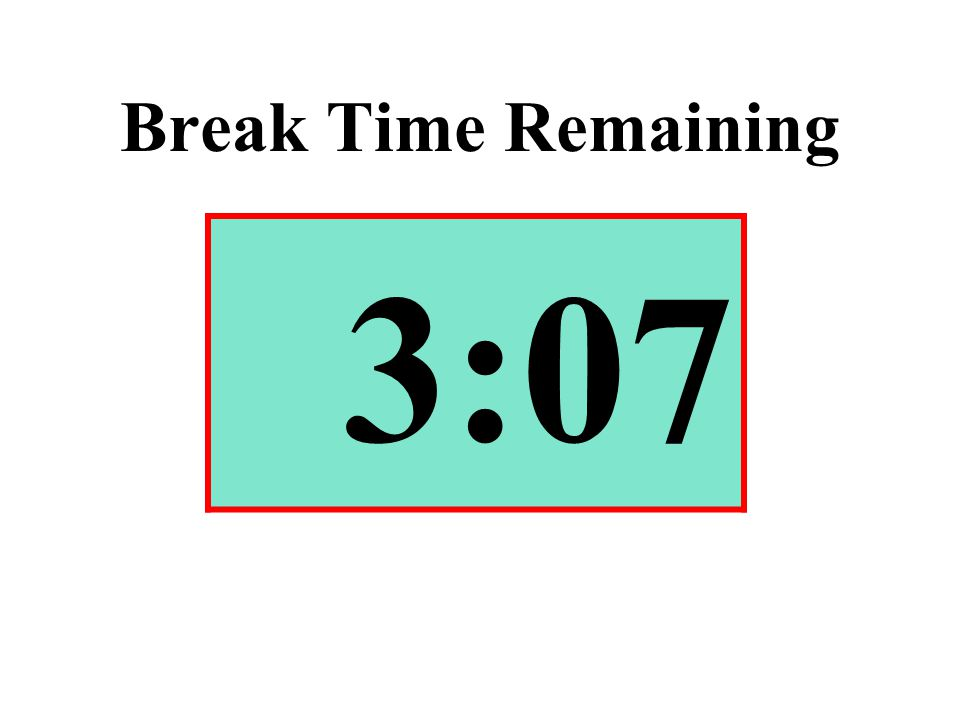 Break Time Remaining 3:07