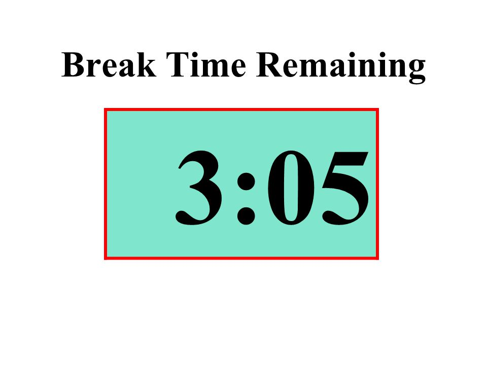 Break Time Remaining 3:05