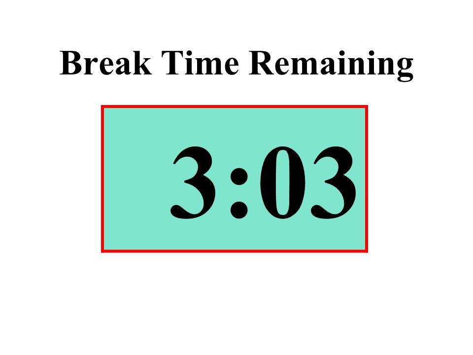Break Time Remaining 3:03
