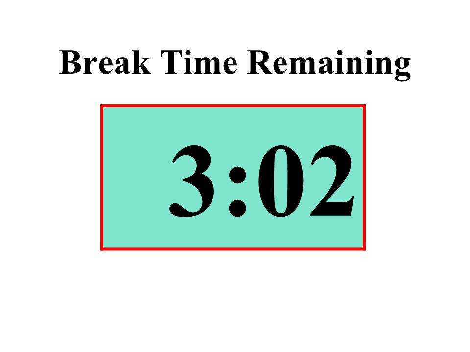 Break Time Remaining 3:02