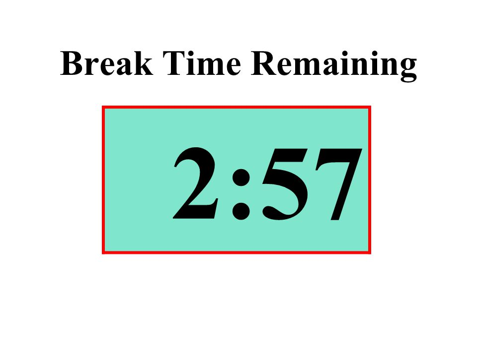 Break Time Remaining 2:57