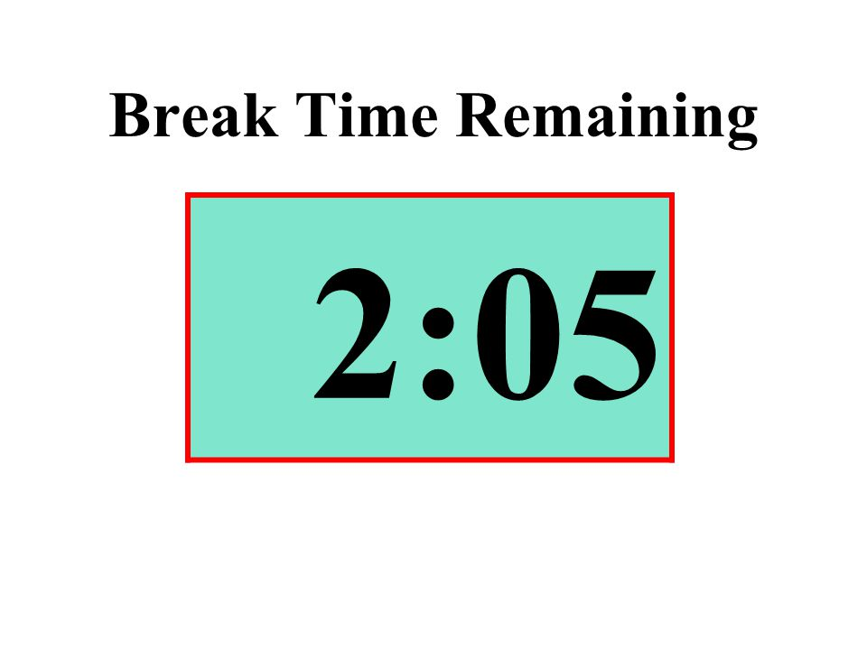 Break Time Remaining 2:05