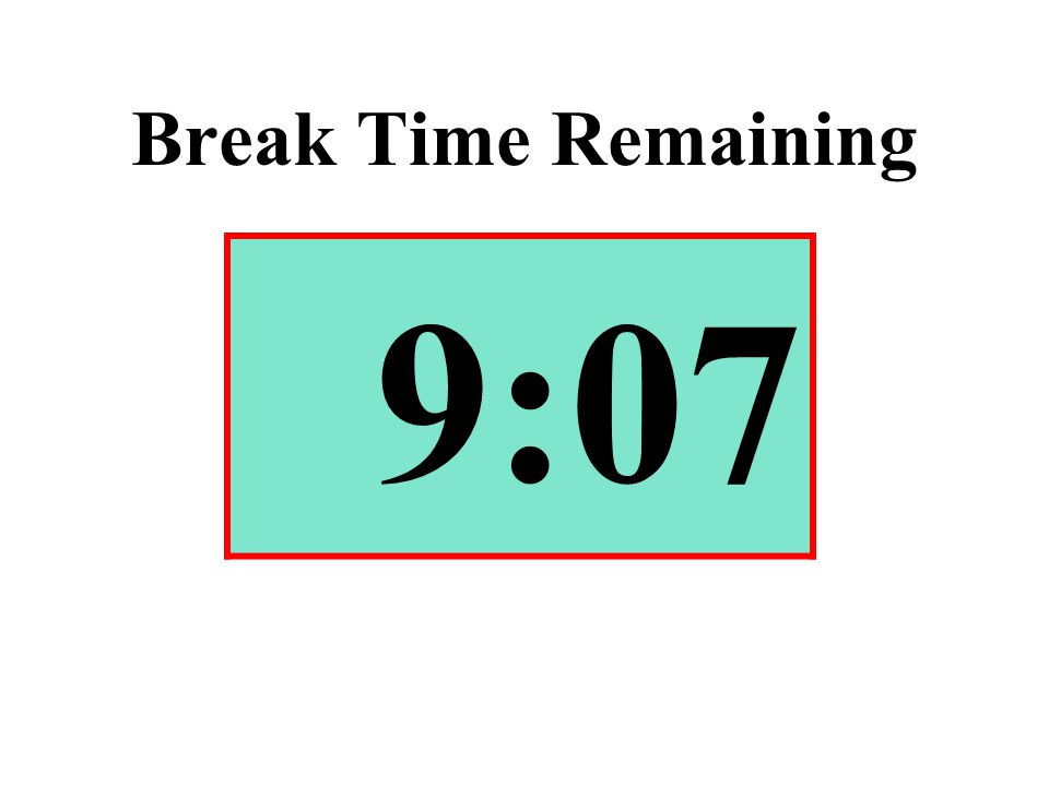Break Time Remaining 9:07
