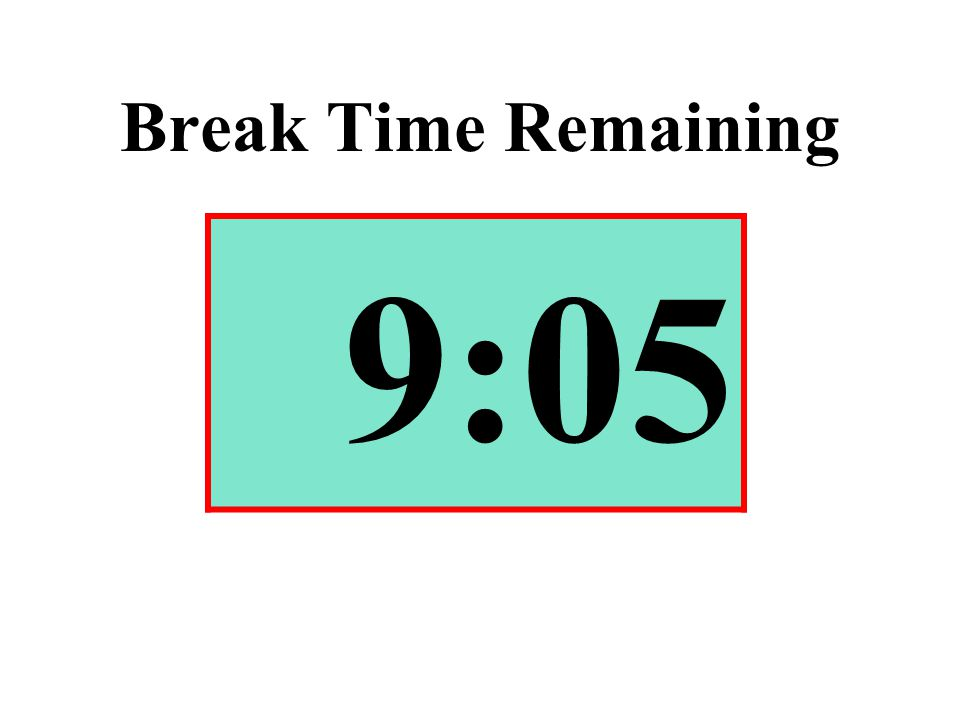 Break Time Remaining 9:05