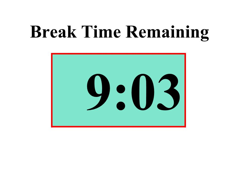 Break Time Remaining 9:03