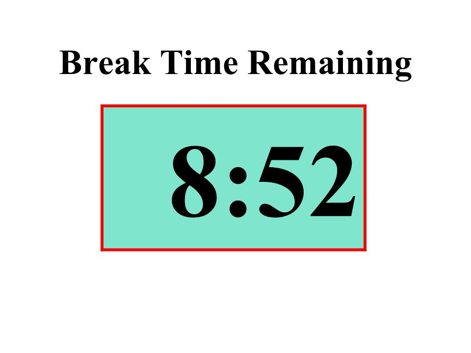 Break Time Remaining 8:52