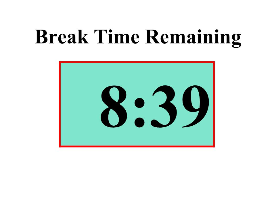 Break Time Remaining 8:39